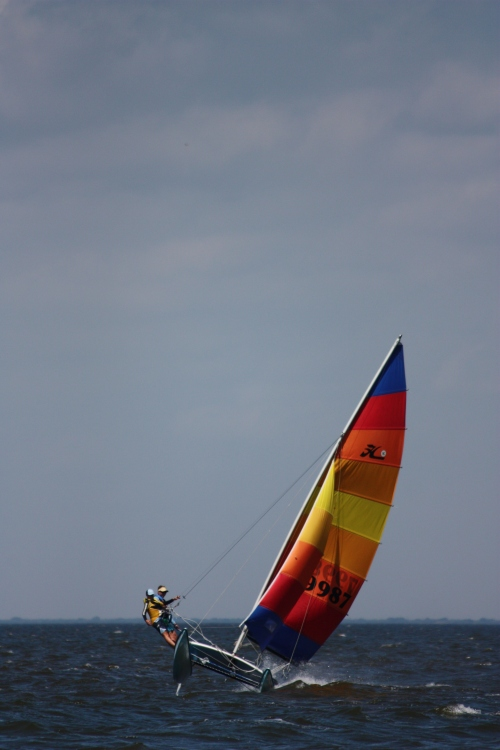 Dana and Weston flying a hull on the hobie cat (Photo - Kayla)