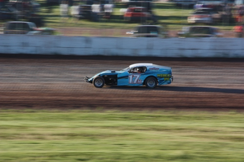 Dana's cousin Ivar racing around the local track near the cottage in Oshkosh