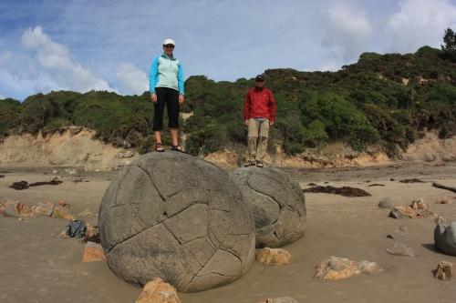 Dana and Weston atop the world on the New Zealand coast