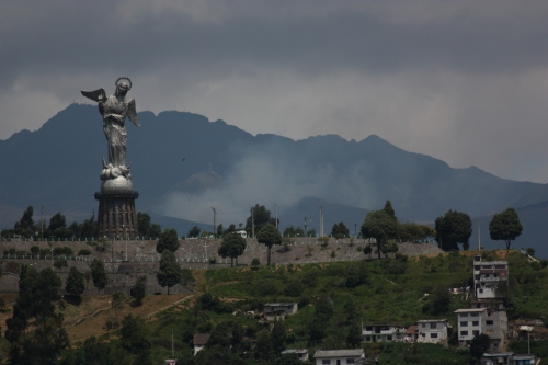 """Sitting high above Quito on Panecillo hill is a 150 foot tall statue """"Virgen de Quito"""""""