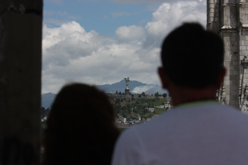 "Amor - Many local couples would climb the bell tower and gaze upon the ""Virgen de Quito"" together"