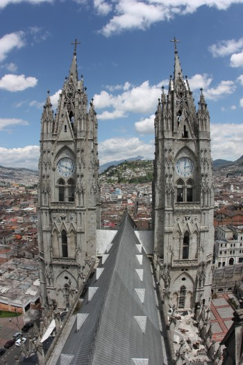 Atop the bell tower downtown Quito