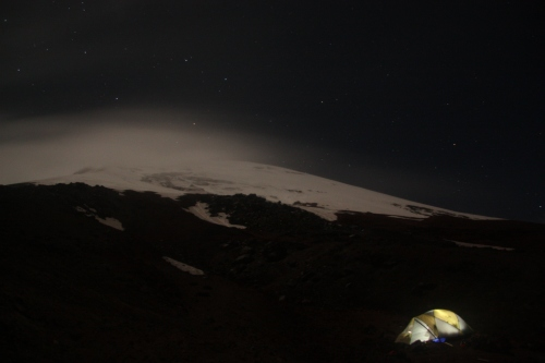 Our tent holding steady as clouds rip across the summit of Cotopaxi
