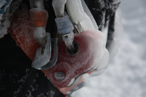 Worthless gear from an ice storm on Cotopaxi