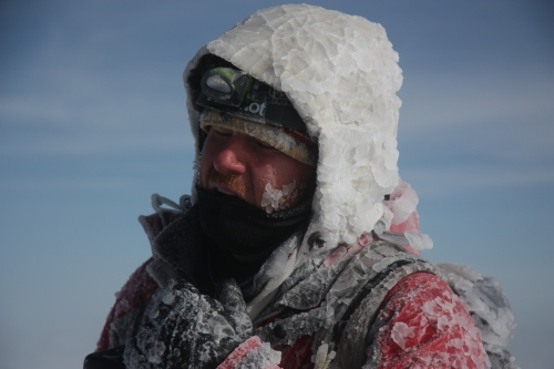 Ben covered in ice on cotopaxi