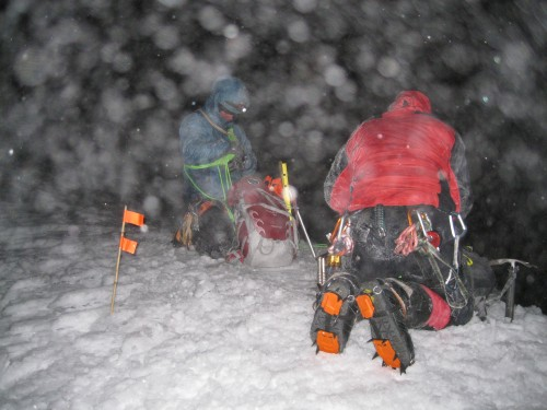 Weston and Jordan Winters part way up Cotopaxi at 2 am, the weather would get worse before it got better