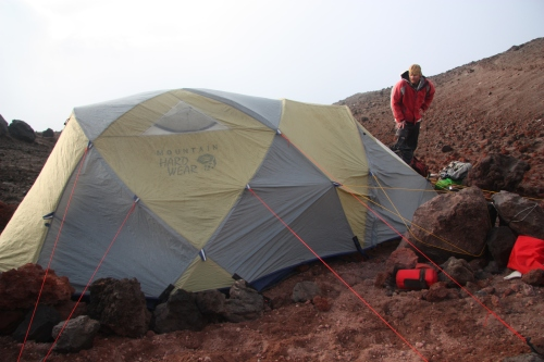 100' of guyline and our tent was secured to the side of Cotopaxi