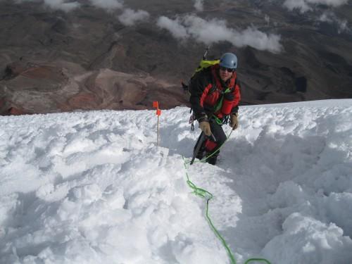 Weston high on the glacial ridge of Chimborazo
