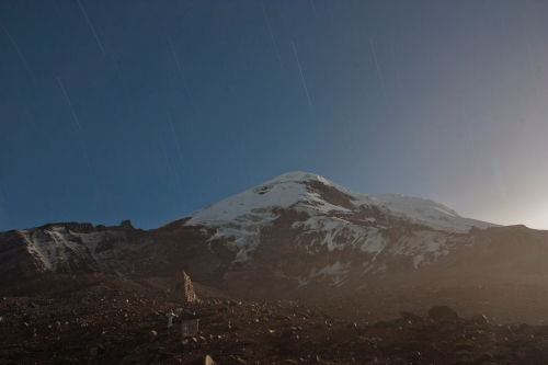 Star Trails behind Chimborazo with a full moon rising on the right