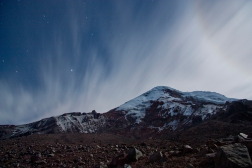 Night exposure of Chimborazo with clouds racing over the summit
