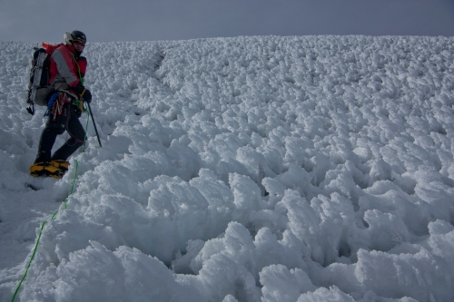 Ben picking his way through the penitentes on Chimborazo