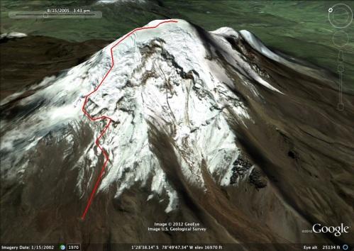 Route we climbed on Chimborazo